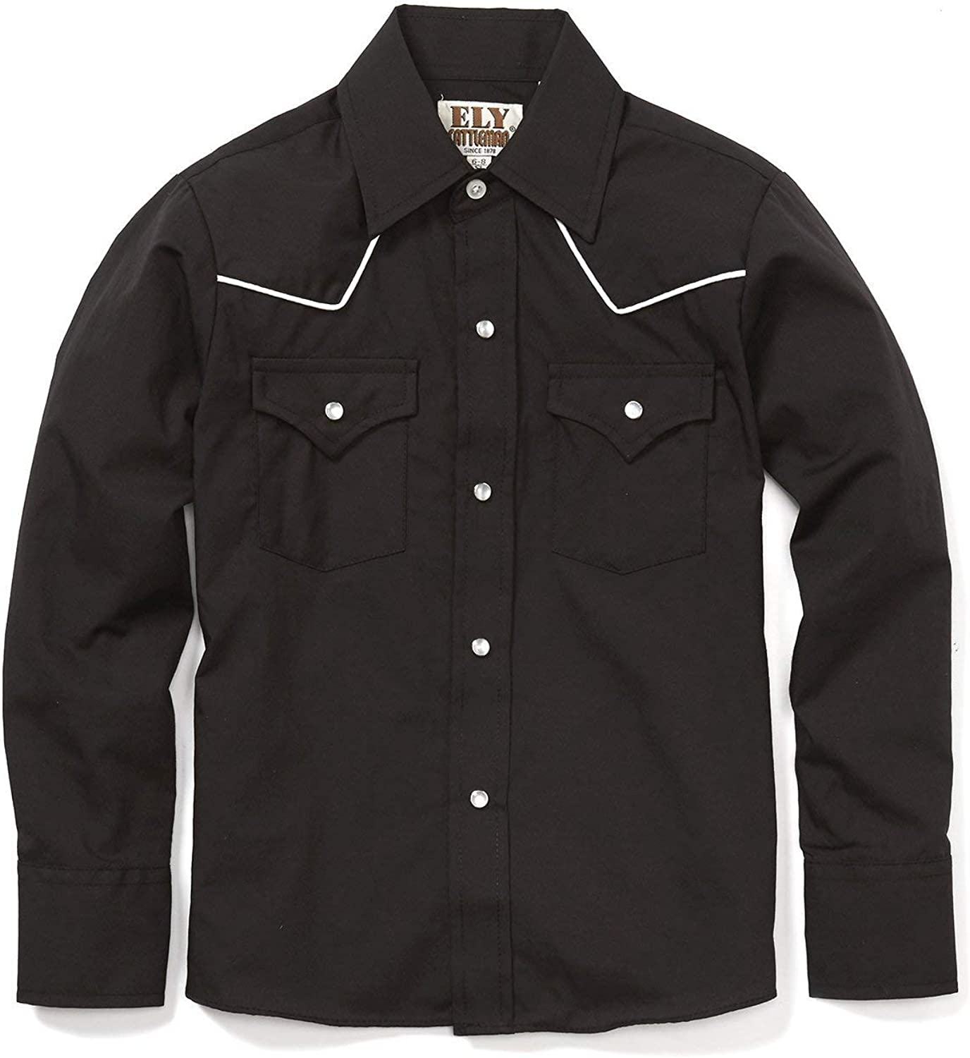 ELY CATTLEMAN Boys' Long Sleeve Solid Western Shirt with Piping