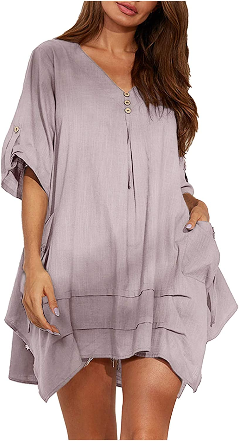Forwelly Baggy Oversized Shirt for Women Ladies Summer Casual Short Sleeve Cotton Linen Tunic Top Tee Bloues
