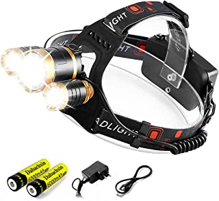 LED Headlamp,Dabachxin 10000 Lumen Brightest Rechargeable Headlight Flashlight 4 Modes Waterproof Zoomable Hardhat Head Lamp Best for Camping Hiking Hunting Outdoor (3 LED)