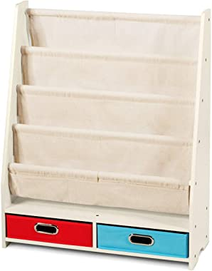 Costzon 2 in 1 Kids Book Rack Storage Bookshelf, Chlidren's Free Standing Bookcase w/ 4 Sling Shelves & 2 Storage Boxes Organ
