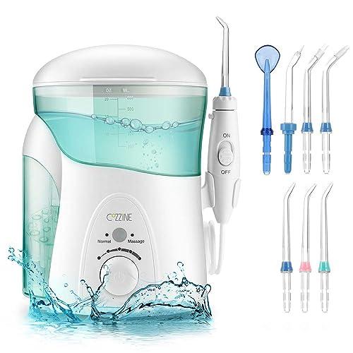 Irrigador Bucal, Cozzine Irrigador Dental Profesional con 7 Boquillas, 600ml, 10 Ajustes de Presión del Agua, Dos Modos, Irrigador de Agua Oral Aprobado por la FDA,CE