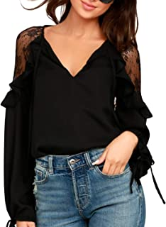 Womens Black Lace Top Tie V Neck Long Sleeve Shirt Ruffles Loose Elegant Blouse