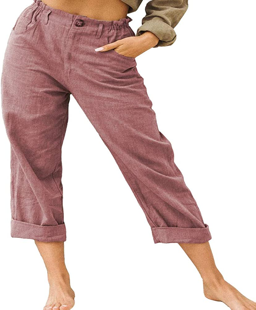 nobranded Women's Cotton and Linen Fashion Loose high Waist Casual Pants Elastic