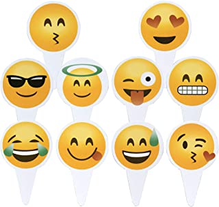 Emoji Cupcake Topper 50 PCS Big Smileys Toppers Popular Emoticon Themed Party Cupcake Picks Cute Cake Decoration
