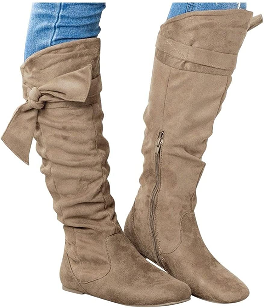 Eduavar Inexpensive Boots for Women online shop Womens Bowknot F Fashion High Knee