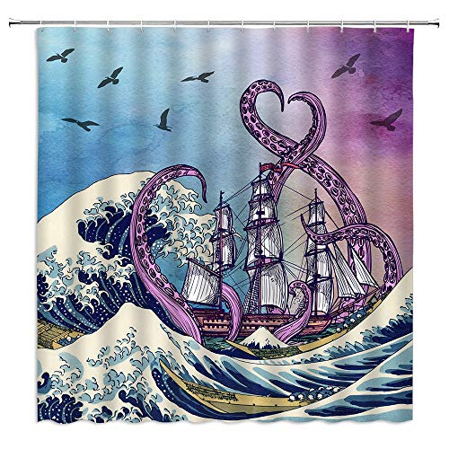 Nautical Octopus Shower Curtain Japanese Ukiyo-e Waves Retro Marine Creature Sea Monster Tentacle Sailing Bird Oriental Fabric Boy Decoration Fabric Bathroom Set with Hook 70x70 Inch Purple Blue