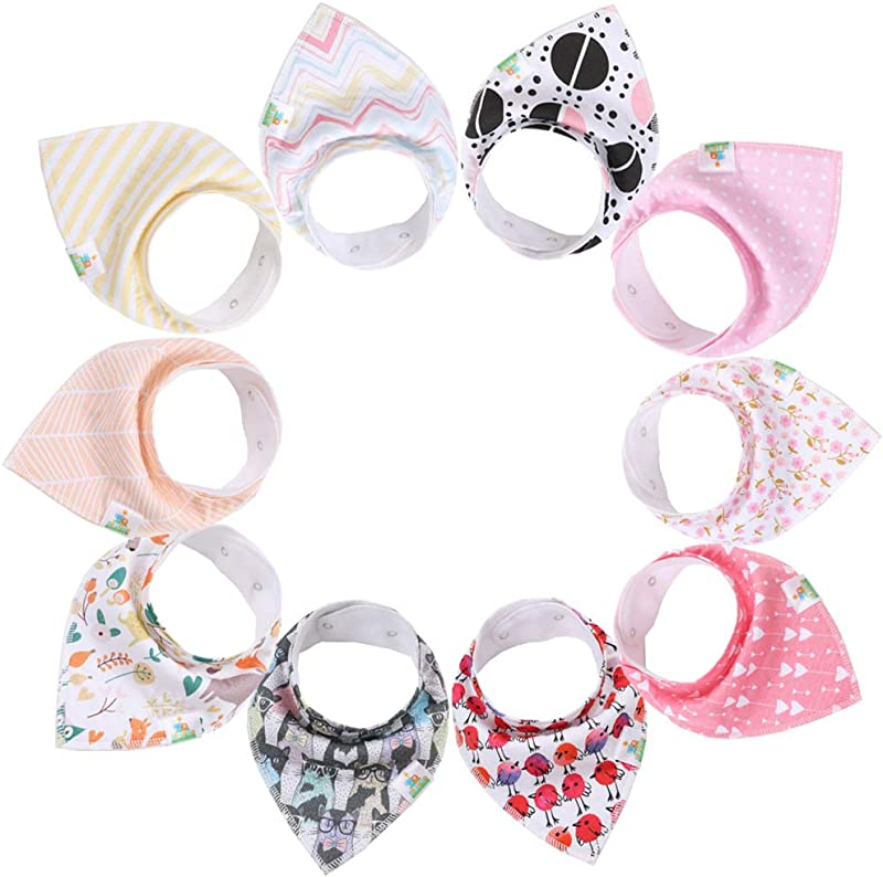 Baby Girl Bibs 10 Pack Of Baby Girl Bandana Drool Bibs 100 Organic Cotton Super Absorbent Made For Drooling And Teething By Ari Safari Products