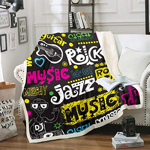 Loussiesd Rock Music - Manta de peluche con diseño de guitarra eléctrica, diseño de sherpa