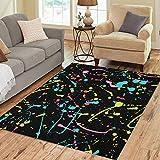 Pinbeam Area Rug Yellow Paint Neon Splatter Pattern Drip Ink Splash Home Decor Floor Rug 3' x 5' Carpet