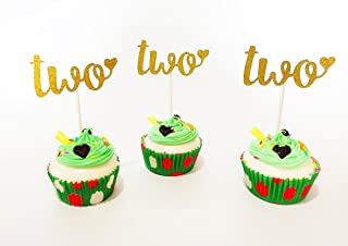 E&L Two Cupcake Topper, Set of 12 Golden Glitter Cupcake Toppers -Cupcake Topper Birthday Decoration