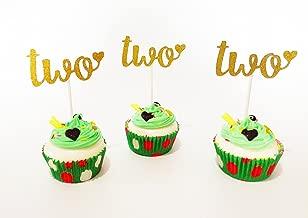 E&L Two Cupcake Topper, Set of 12 Golden Glitter Cupcake Toppers -Cupcake Topper Birthday Decoration