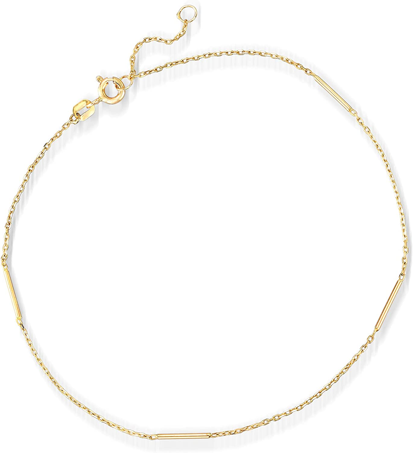 Ross-Simons Italian 14kt Yellow Gold Station Bar Anklet. 9 inches