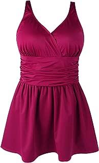 Jinxueer Plus Size Swimsuit Tummy Control Swimwear One Piece Floral Print Swimdress Flared Skirt Women