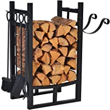 Small Firewood Rack Indoor Outdoor w 4 Tools, Log Rack Fire Wood Holders Storage Carrier by Patio Guarder, Heavy Duty Steel Log Holder with Kindling Holder for Backyard Garden Firepit Fireplace, Black