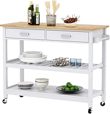 Home Aesthetics Wood Rolling Kitchen Island Cart Trolley on Wheels, Kitchen Cabinet with Drawer, Storage Shelves, 100% Natural Rubberwood Top, White Colored