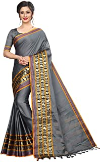 d9e421b8eb40e9 DEVPRIYA FASHION Silver Women's Jacquard Weaving Border Plain Cotton Silk  Saree with Blouse Piece