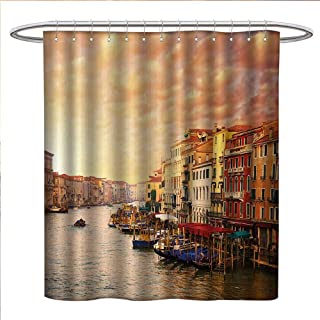 Scenery Shower Curtains with Shower Hooks Venezia City Italian Landscape with Old Ancient Houses Gondollas and Spikes Image Satin Fabric Sets Bathroom W54 x L78 Multicolor