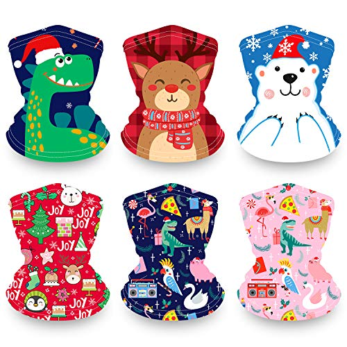 Kids Neck Gaiter Christmas Face Mask 6 Pack, Breathable Washable Reusable Face Cover for Girls Boys