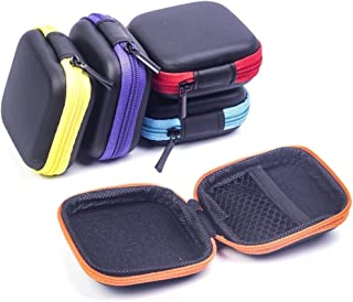JHGJ [5-Pack] Square Carrying Cases for Cellphone Earphone Headset Earbuds Pouch Storage Bags Portable PU Leather Hard Carrying Case for MP3 Earphone, Headphone, Ear Buds and Little Stuff