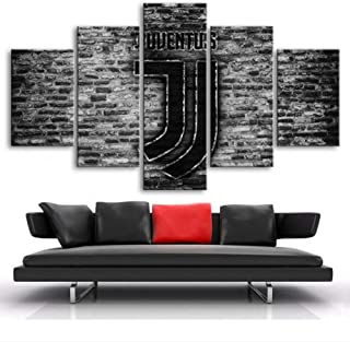 ARTZHUA Wall Art 5 Pieces Canvas Paintings American Football 5 Pieces Canvas Print Famous Football Star Logo Posters Print FC Flag Sports Posters Canvas Paintings Boy's Wall Art Home Decor