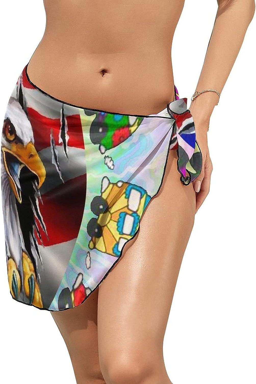Women Beach Wrap Skirts Happy Camper American Flag Eagle Personalized Bikini Swimwear Beach Cover Up