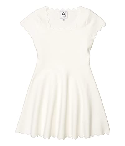 Milly Minis Scalloped Edge Fit-and-Flare Dress (Big Kids) (White) Girl