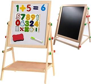 Hemaイーゼル 黒板ボード ホワイトボード キッズ身長より高さ調節できるHema art改良木製ボード 白板側に磁気数字やアルファベット ボードペン 黒板消しなど貼れ、イーゼルと書きボードを分けて別々に使える壁掛け看板やトレイにして機能性ある脚付き両面ボード