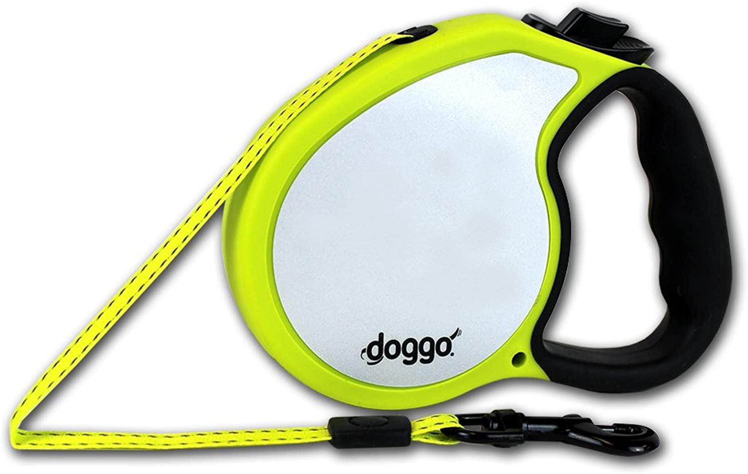 Doggo Reflective Retractable Dog Leash, 16' Long Reflective Belt, Small for Dogs Up to 45 lbs, Neon Yellow with Reflective Accents