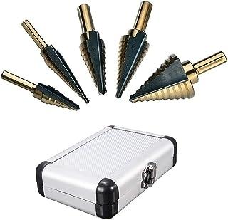 """Mengshen Step Drill 5-Piece Set British System 1/4-1-3/8"""" 3/16-7/8"""" 1/4-3/4"""" 1/8-1/2"""" 3/16-1/2"""", High Speed Steel HSS Tita..."""