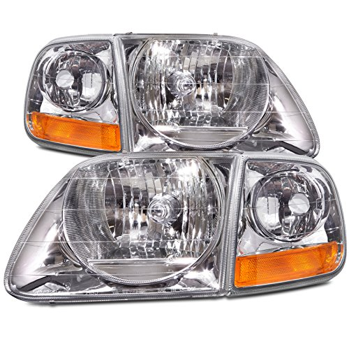HEADLIGHTSDEPOT Chrome Housing Halogen Headlights Compatible with Ford Expedition F-150 Lightning Style Includes Left Driver and Right Passenger Side Headlamps With Corners