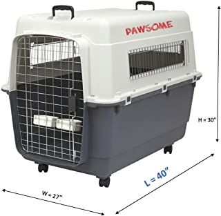 Pawsome pet Dog Airline Travel Crate Kennel cage Carrier – 40 inch Large Size - IATA Compliant