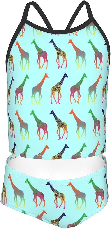 Girls 2 Piece Tankini Swimsuit Set Colorful Zebra Giraffe Bikini Beach Sport Swimsuit Comfortable Bathing Suit