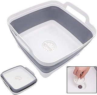 Hiveseen 洗い桶 折りたたみ 洗いおけ 洗いかご キッチン 水切りかご 排水プラグが付く コンパクト シリコン 取っ手付 アウトドア 用途いろいろ