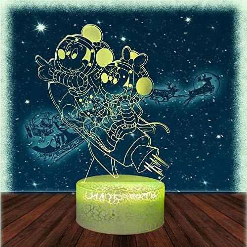 Mickey Mouse Minnie Gifts, lámpara 3D para niños luz nocturna para niños regalos de vacaciones regalo de Navidad cumpleaños regalo de juego ventilador