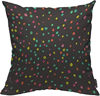 Mugod Colorful Spotty Decorative Pillow Case Cute Doodle Bright Red Green Pink Yellow Dots Throw Pillow Cover Home Decor Cotton Linen Square Cushion Cover for Couch Bed Sofa 20X20 Inch