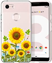 Unov Pixel 3 Case Clear with Design Soft TPU Shock Absorption Slim Embossed Flower Pattern Protective Back Cover for Pixel 3 5.5 inch (Sunflower Blossom)