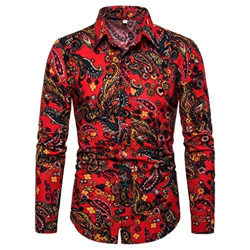 Chemise Homme,FNKDOR Hommes T-Shirt Coloré Fleur imprimé Casual Coupe Droite Manches Longues Blouse Tops(H Multi Couleur,5XL)