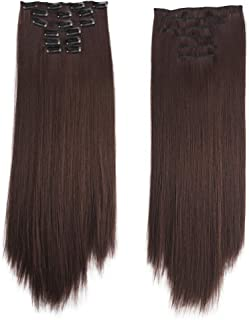24inch Ombre Mix Clip in 8 Pieces 100% Thick as Human Hair Extensions Full Head Long Synthetic Hair (04 Medium Brown)