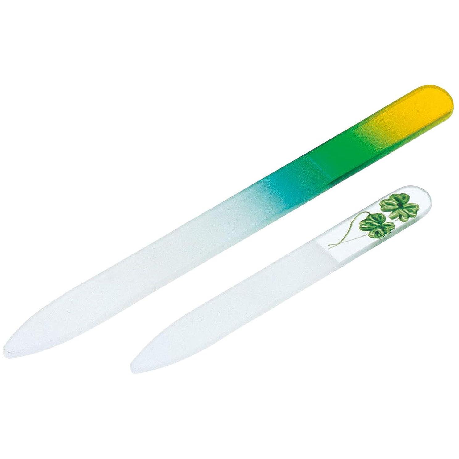 粘土ジョットディボンドン持つガラス製爪やすり 大小2個セット 水洗い可 子ども 携帯用 つめやすり