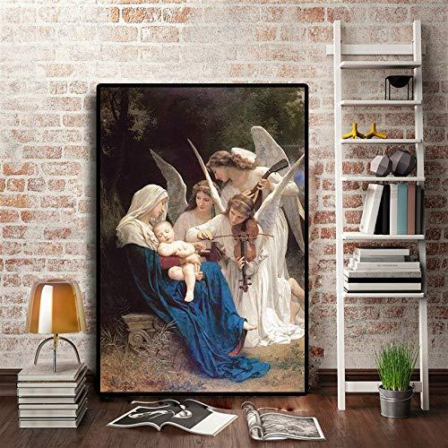 sanzangtang Engel Musik Ölgemälde Kunst Poster auf berühmten Porträt Leinwand und Wohnzimmer Wandbild rahmenlose Malerei 70cmX105cm