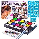 JORSHIMAN Pinturas Cara, Pintura Facial, Pintura Facial Seguro y Saludable para Halloween/Fiestas/Cosplay/Sant, no Tóxicos