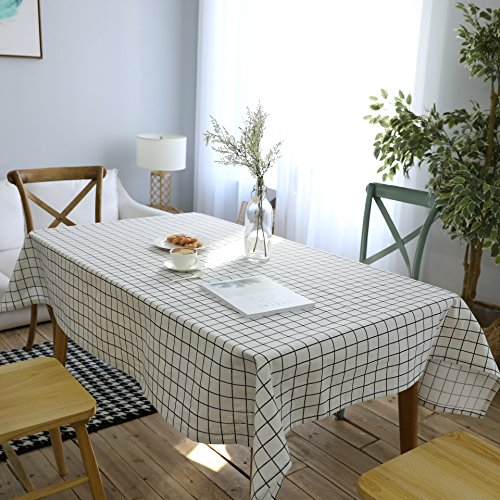 DQGZYF Mantel de Lino de algodón a Cuadros Blanco Lavable a Prueba de Polvo decoración de Fiesta de Comedor en casa 140 * 200 cm