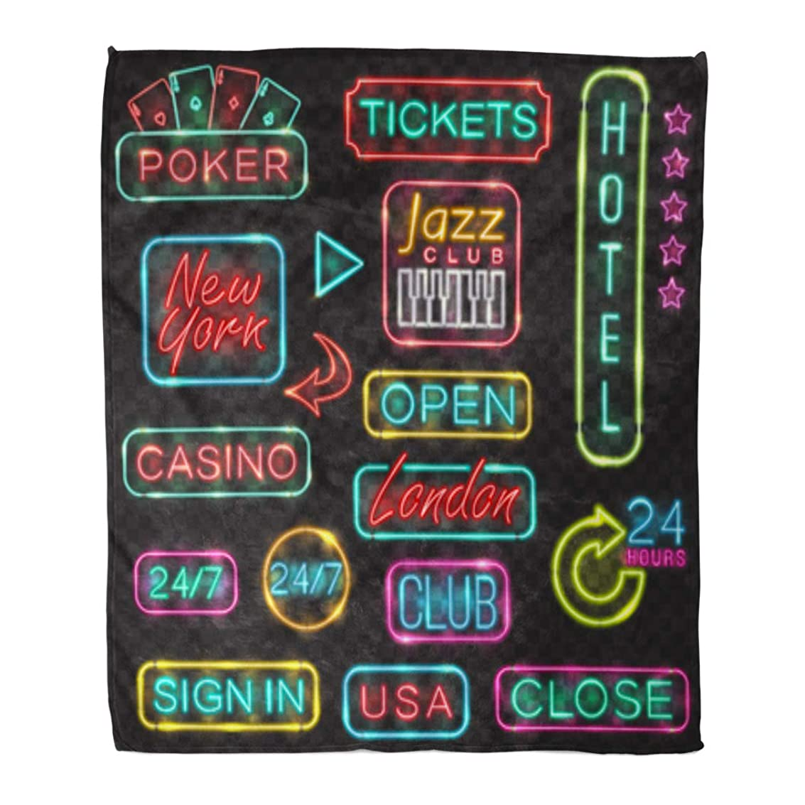 Golee Throw Blanket Neon Signs Lights for Poker Casino London New York USA 60x80 Inches Warm Fuzzy Soft Blanket for Bed Sofa ciiyg7359911729