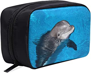 Dolphin Underwater On Reef Look Portable Travel Makeup Cosmetic Bags Organizer Multifunction Case Small Toiletry Bags For Women And Men Brushes Case