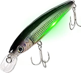 watalure Luminous Vibrating Jerkbait LED Minnow Fishing Lures for Bass Trout Freshwater Saltwater Electric Lures USB Recha...