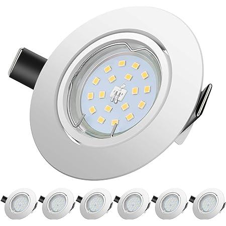 LED Spots Encastrables, Blanc Froid 6000K,600lm Plafonnier Encastré,5W Equivalente de 60W Ampoule halogène,30°orientable,120°d'éclairage,6x GU10 Lampe de plafond