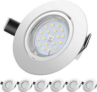 Sunpion Foco Empotrable | LED Luz de Techo 5W Equivalente a Incandescente 60W | Blanco neutro 4500K 600Lm | de techo de iluminación incluye bombilla LED para salón o dormitorio cocina etc 6 piezas