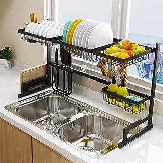 DJSMsnj Rangement de cuisine en acier inoxydable pour évier, comptoir, organiseur, support pour ustensiles de cuisine, pré...