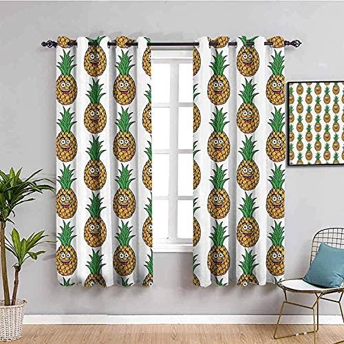 LTHCELE Nieprzezroczyste zasłony do sypialni - Prosty zielony owocowy ananasowy - Oczkami z nadrukiem 3D izolowane termicznie - 140 x 160 cm - Zasłony zaciemniające 90% do pokoju zabaw dla dzieci chło