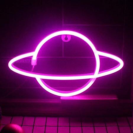 QiaoFei Panneau LED Planet Néon pour enfants - Lampe murale décorative à piles ou USB - Décoration murale - Rose